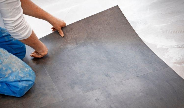 Linoleum toilet floor